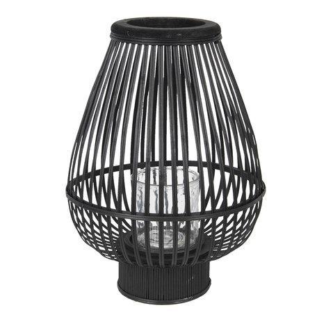 Windlicht ø 34*46 cm Zwart | 6RO0471L | Clayre & Eef