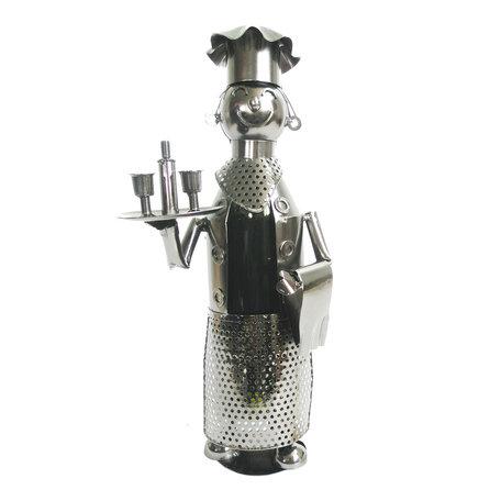 Flessenhouder kelner 17*13*36 cm Zilverkleurig | 6Y3789 | Clayre & Eef