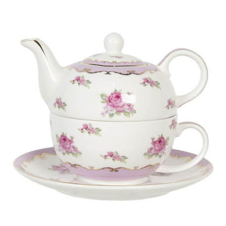 Tea for one set 16*10*14 cm 0.4L / 0.25L Multi | 6CE1130 | Clayre & Eef