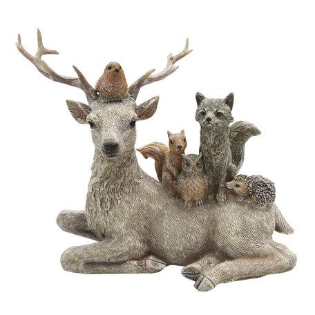 Decoratie dieren 18*8*16 cm Meerkleurig   6PR2745   Clayre & Eef