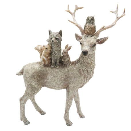 Decoratie dieren 21*7*24 cm Meerkleurig   6PR2746   Clayre & Eef