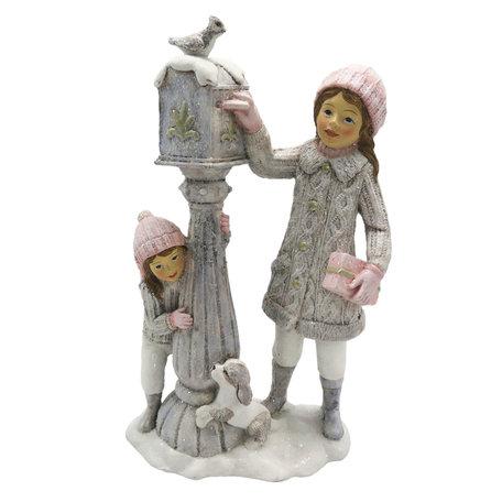 Decoratie kinderen bij brievenbus 13*7*22 cm Wit | 6PR2747 | Clayre & Eef