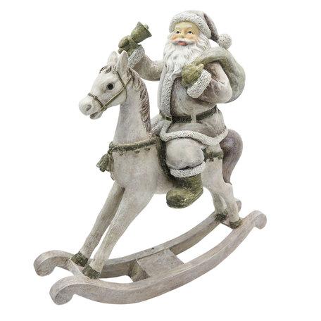 Decoratie kerstman op hobbelpaard 20*8*21 cm Wit | 6PR2768 | Clayre & Eef