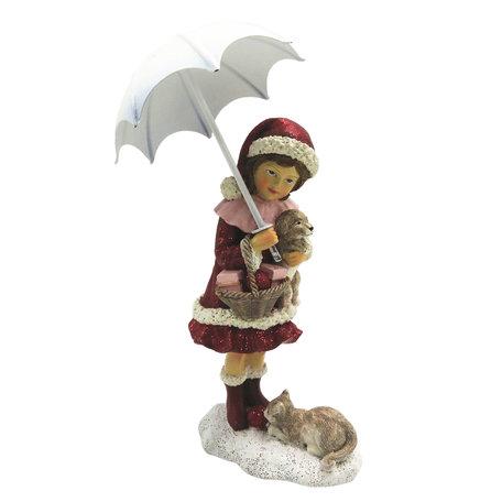 Decoratie kind met paraplu 9*6*16 cm Meerkleurig | 6PR2769 | Clayre & Eef