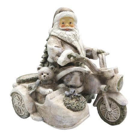 Decoratie kerstman op motor 13*10*13 cm Wit | 6PR2775 | Clayre & Eef