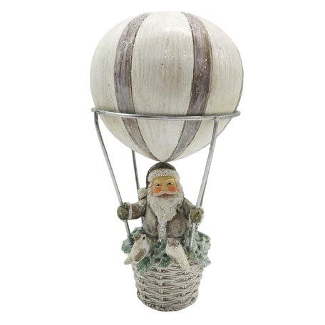 Decoratie kerstman in luchtballon ø 8*17 cm Grijs | 6PR2787 | Clayre & Eef