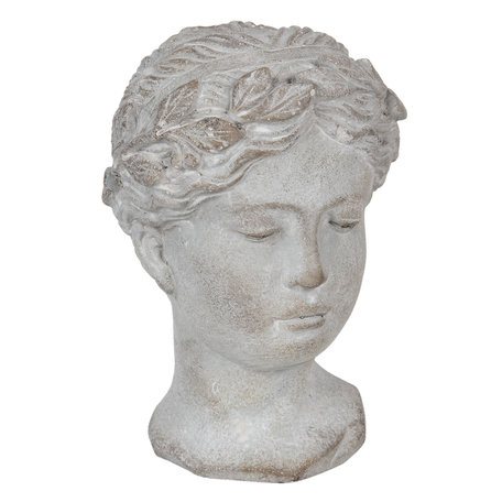 Decoratie hoofd vrouw 16*15*23 cm Grijs | 6TE0294 | Clayre & Eef