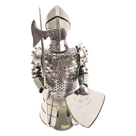 Flessenhouder ridder 17*15*32 cm Zilverkleurig | 6Y3776 | Clayre & Eef