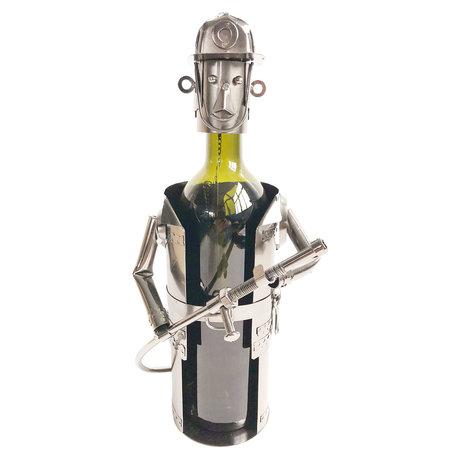 Flessenhouder brandweerman 17*12*22 cm Zilverkleurig | 6Y3777 | Clayre & Eef