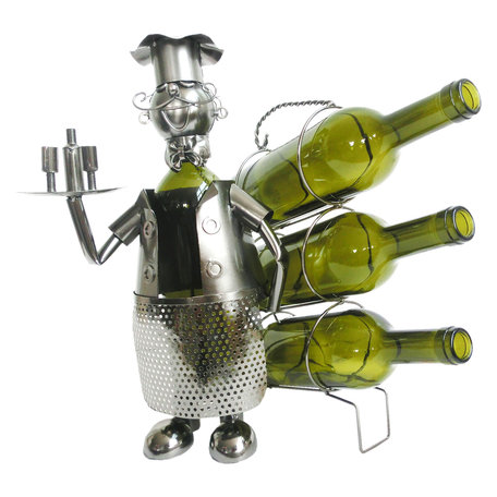 Flessenhouder kelner 32*21*33 cm Zilverkleurig | 6Y3779 | Clayre & Eef