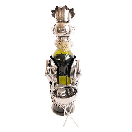 Flessenhouder kok 16*12*21 cm Zilverkleurig | 6Y3780 | Clayre & Eef