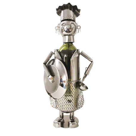 Flessenhouder kok 16*12*28 cm Zilverkleurig | 6Y3782 | Clayre & Eef