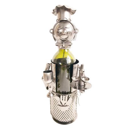 Flessenhouder kelner 15*13*21 cm Zilverkleurig | 6Y3783 | Clayre & Eef
