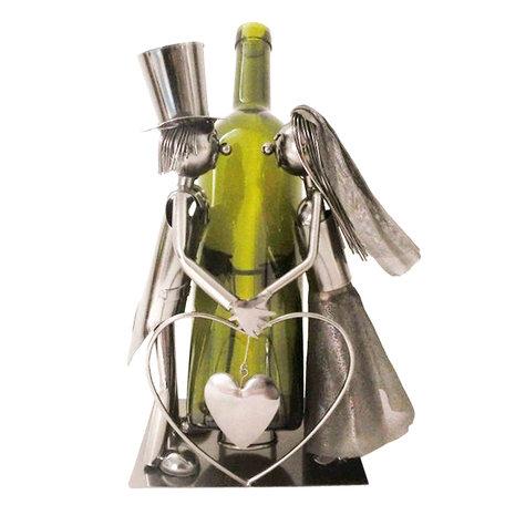 Flessenhouder bruidspaar 19*13*26 cm Zilverkleurig | 6Y3785 | Clayre & Eef