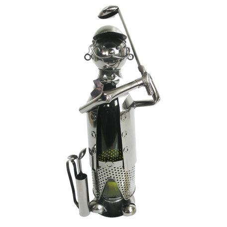 Flessenhouder golfer 21*14*29 cm Zilverkleurig | 6Y3787 | Clayre & Eef
