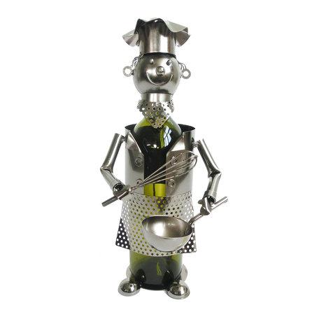 Flessenhouder kok 15*14*22 cm Zilverkleurig | 6Y3788 | Clayre & Eef