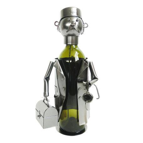 Flessenhouder dokter 17*13*20 cm Zilverkleurig | 6Y3790 | Clayre & Eef