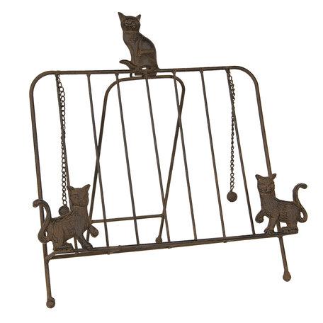 Boekenstandaard met katten 38*25*38 cm Bruin | 6Y3814 | Clayre & Eef