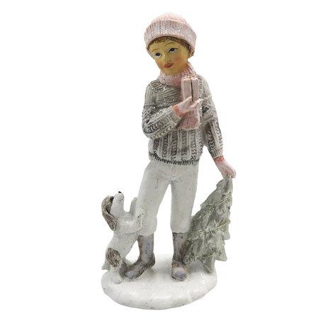 Decoratie kind met hond 7*5*14 cm Meerkleurig | 6PR2779 | Clayre & Eef