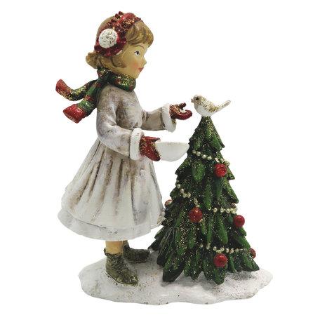 Decoratie kind met kerstboom 9*5*12 cm Meerkleurig | 6PR2786 | Clayre & Eef