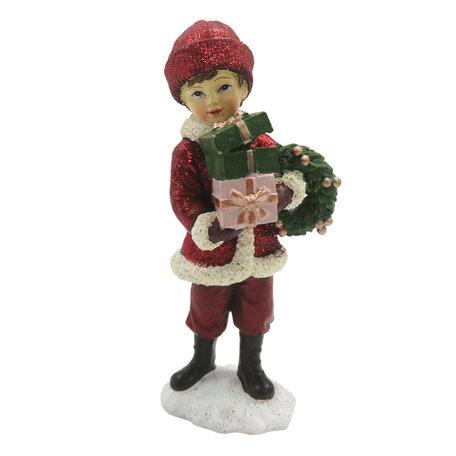 Decoratie kind met cadeau 5*4*11 cm Meerkleurig | 6PR2807 | Clayre & Eef