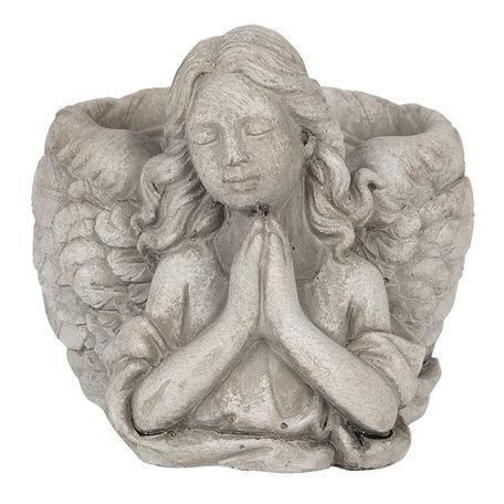 Bloempot engel 16*13*12 cm Grijs | 6TE0282S | Clayre & Eef