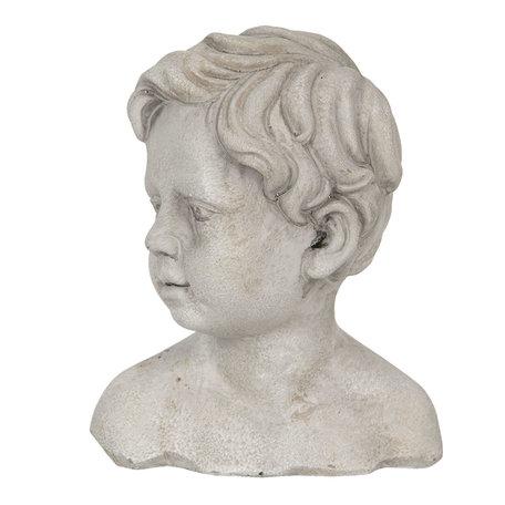 Decoratie hoofd kind 16*12*19 cm Grijs | 6TE0287 | Clayre & Eef