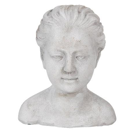 Decoratie hoofd vrouw 17*16*20 cm Grijs | 6TE0288 | Clayre & Eef