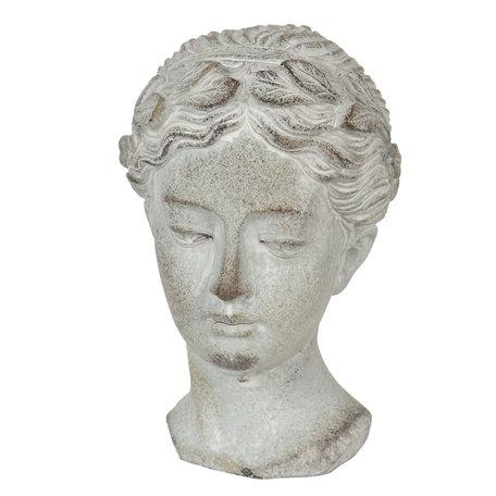 Decoratie hoofd vrouw 12*11*17 cm Grijs | 6TE0293 | Clayre & Eef