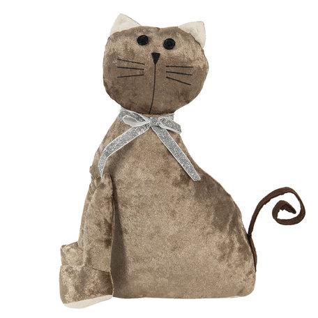 Deurstopper kat 20*11*29 cm Bruin   DT0305   Clayre & Eef