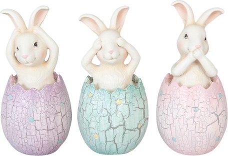 Decoratie konijn in ei (3) ø 6*13 cm Meerkleurig | 6PR1043 | Clayre & Eef