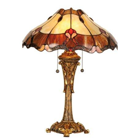 Tafellamp Tiffany ø 40*53 cm E27/max 2*60W Rood | 5LL-5377 | Clayre & Eef