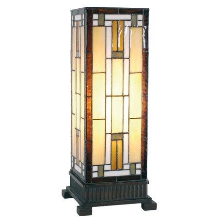 Tafellamp Tiffany 18*18*45 cm E27/max 1*60W Bruin | 5LL-5445 | Clayre & Eef