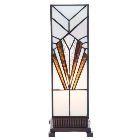 Tafellamp Tiffany 12*12*35 cm E14/max 1*25W Wit | 5LL-5894 | Clayre & Eef