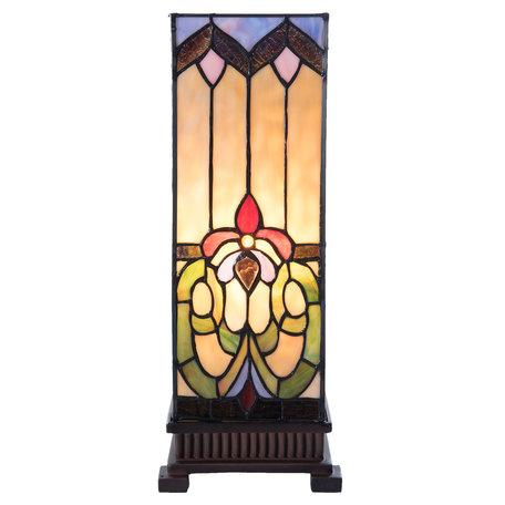 Tafellamp Tiffany 17*17*44 cm E27/max 1*40W Meerkleurig | 5LL-5907 | Clayre & Eef