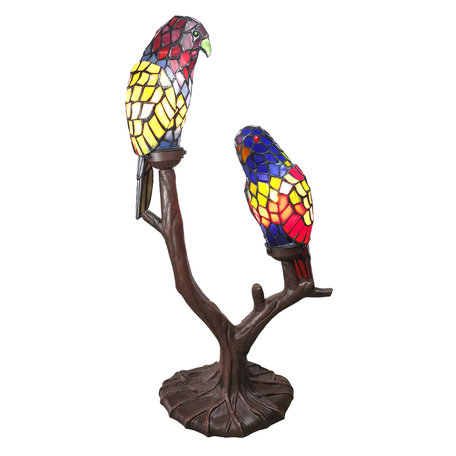 Tafellamp Tiffany 50*24*63 cm E14/max 2*40W Meerkleurig | 5LL-6017 | Clayre & Eef