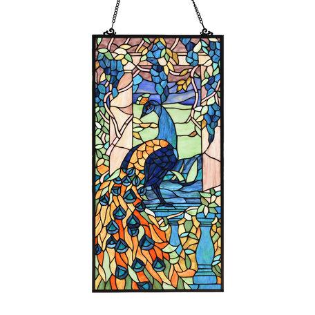Glaspaneel Tiffany 76*38 cm Meerkleurig   5LL-6040   Clayre & Eef