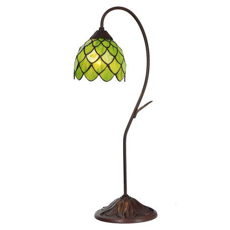 Tafellamp Tiffany ø 28*60 cm E14/max 1*40W Groen | 5LL-6045 | Clayre & Eef