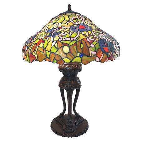 Tafellamp Tiffany ø 57*83 cm E27/max 3*40W Meerkleurig | 5LL-6055 | Clayre & Eef