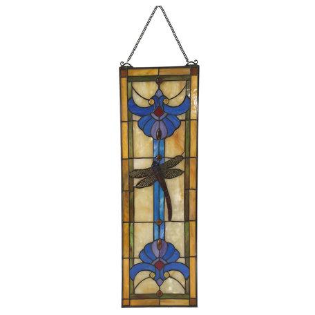 Glaspaneel Tiffany 25*73 cm Multi   5LL-6058   Clayre & Eef