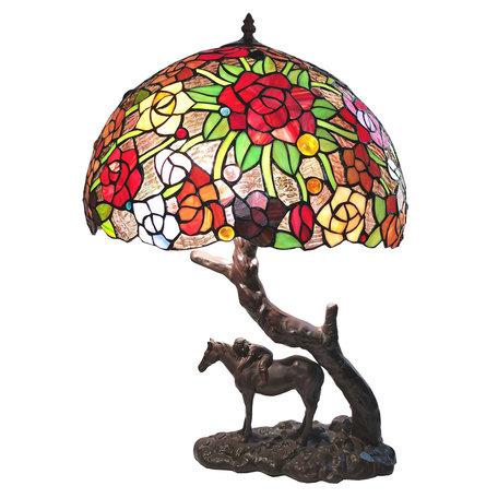 Tafellamp Tiffany ø 43*58 cm E27/max 2*60W Meerkleurig | 5LL-6061 | Clayre & Eef