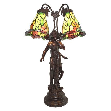 Tafellamp Tiffany 50*28*84 cm E27/max 2*60W Meerkleurig | 5LL-6062 | Clayre & Eef
