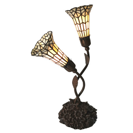 Tafellamp Tiffany 34*25*58 cm E14/max 2*25W Meerkleurig | 5LL-6063 | Clayre & Eef