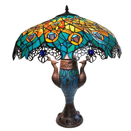 Tafellamp Tiffany ø  56*68 cm E27/max 2*60W E14/max 1*25W Meerkleurig | 5LL-6067 | Clayre & Eef