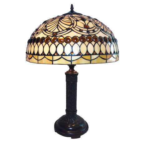 Tafellamp Tiffany ø 46*62 cm E27/max 2*60W Creme | 5LL-6068 | Clayre & Eef