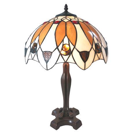 Tafellamp Tiffany ø 41*57 cm E27/max 2*60W Bruin | 5LL-6069 | Clayre & Eef