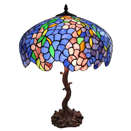 Tafellamp Tiffany ø 43*61 cm E27/max 2*60W Meerkleurig | 5LL-6070 | Clayre & Eef