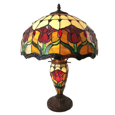 Tafellamp Tiffany ø 41*57 cm E27/max 2*60W E14/max 1*25W Meerkleurig | 5LL-6071 | Clayre & Eef