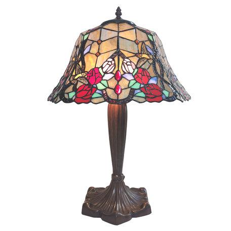 Tafellamp Tiffany ø 42*58 cm E27/max 2*60W Meerkleurig | 5LL-6072 | Clayre & Eef
