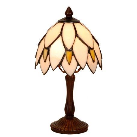 Tafellamp Tiffany ø 18*34 cm E14/max 1*25W Wit | 5LL-963 | Clayre & Eef